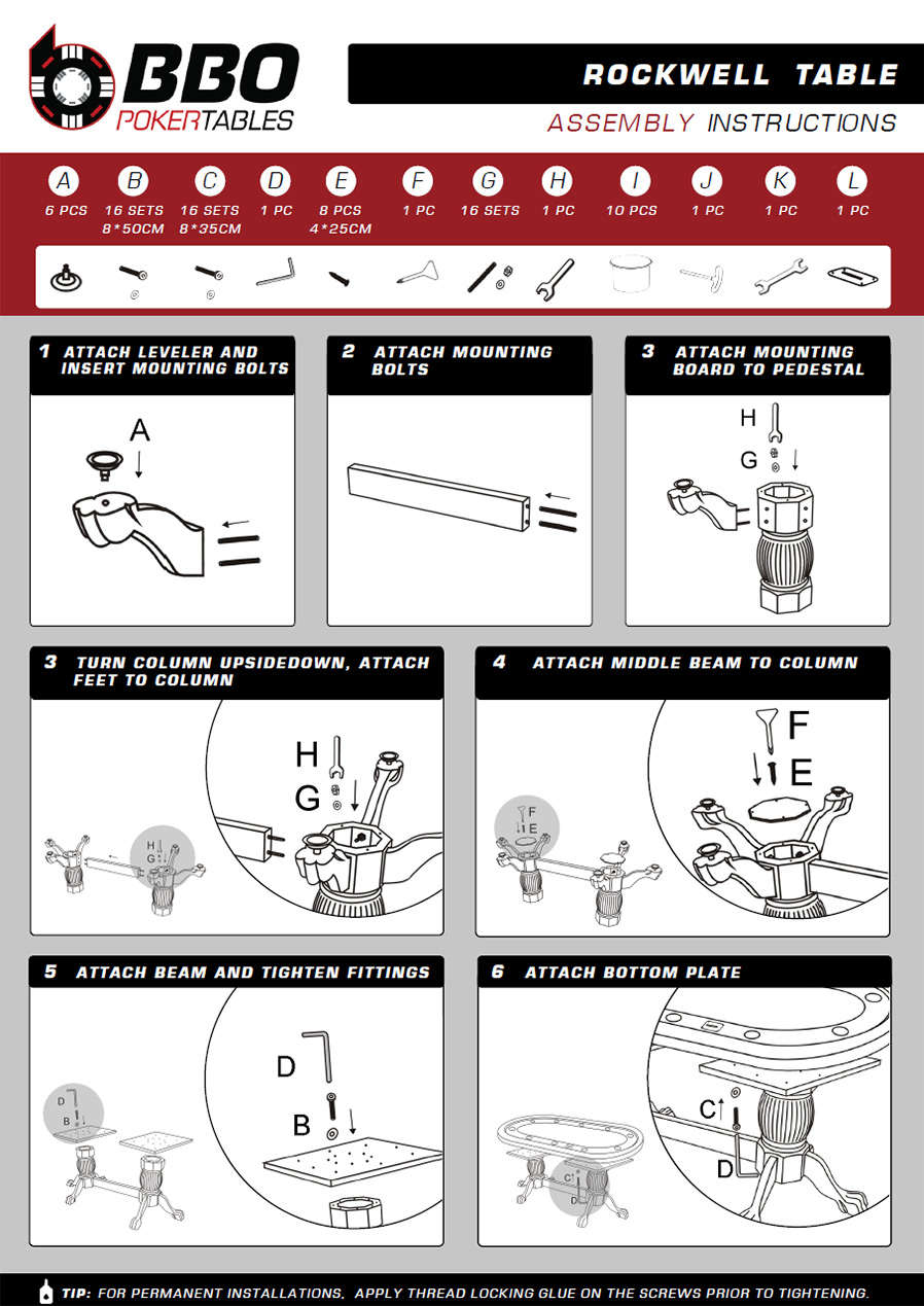 The Rockwell Poker Table Instructions - BBO Poker tables