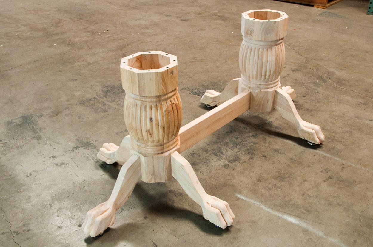 Wood Poker Table Pedestal Leg Set